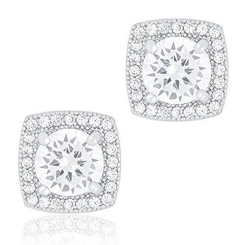 ORROUS & CO Legacy Collection 18K White Gold Plated Cubic Zirconia Cushion Shape Halo Stud Earrings