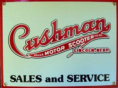Cushman Motor Scooter Porcelain Sign