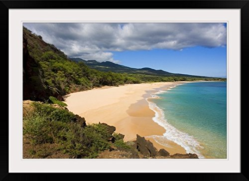 GreatBIGCanvas ''Hawaii, Maui, Makena State Park, Oneloa or Big Beach'' by Ron Dahlquist Photographic Print with Black Frame, 36'' x 24'' by greatBIGcanvas