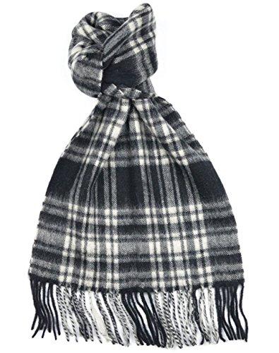 Lambswool Scottish Clan Scarf Menzies Black/White Modern Tartan