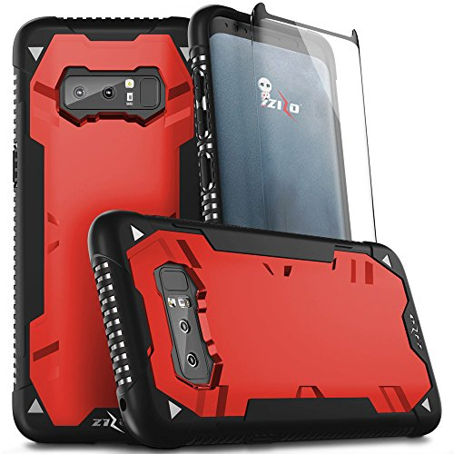Zizo Proton 2.0 Series Compatible with Samsung Galaxy Note 8 Case Military Grade Drop Tested with Tempered Glass Screen Protector Black RED