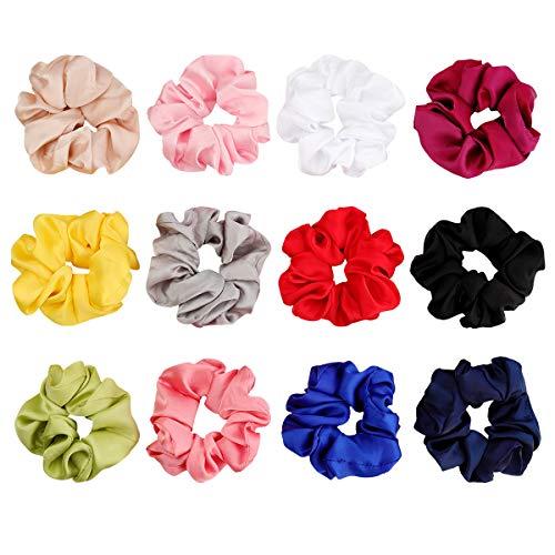 12 Pcs Hair Scrunchies Satin Elastic Hair Bands Scrunchy Hair Ties Ropes Scrunchie for Women or Girls Hair Accessories (12 Pcs Satin Scrunchies) ()