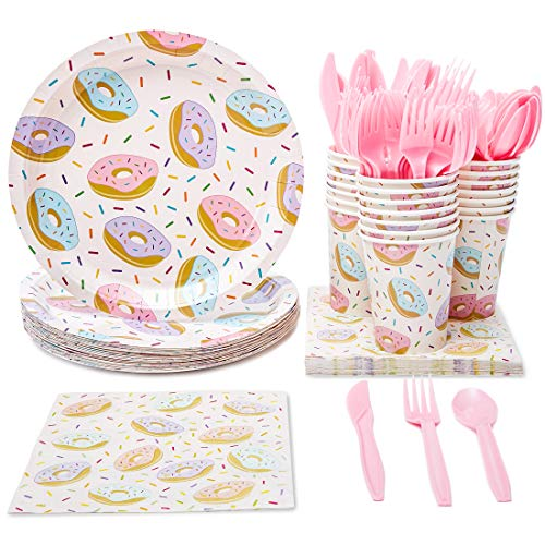 Juvale Donut Party Supplies (Serves 24) Knives, Spoons, Forks, Paper Plates, Napkins, Cups -