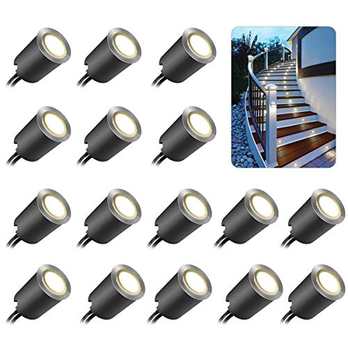 - Recessed LED Deck Light Kits with Black Protecting Shell φ32mm, SMY LED In Ground Outdoor Landscape Lighting IP67 Waterproof,12V Low Voltage for Garden,Yard Steps,Stair,Patio,Floor,Kitchen Decoration