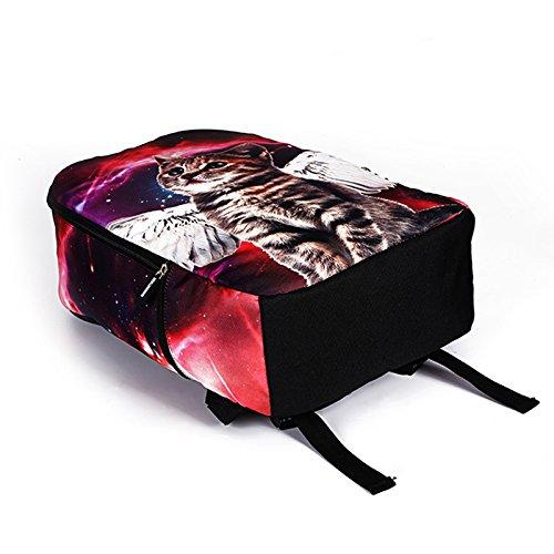 MIYA LTD 3D Cartoon Backpacks Boys,Unisex Fashion Rucksack Laptop Travel Bag Glowing College Bookbag Children's Schoolbag Teenager's Cute Backpack 3D Galaxy Print - Red Cat by MIYA LTD (Image #5)