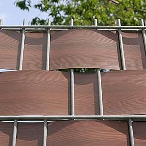Videx Visión – Tiras para vallas incl. Rieles de sujeción, PVC imitación de madera, 2 unidades), color nogal, H: 9, 5 x l: 200 cm: Amazon.es: Jardín