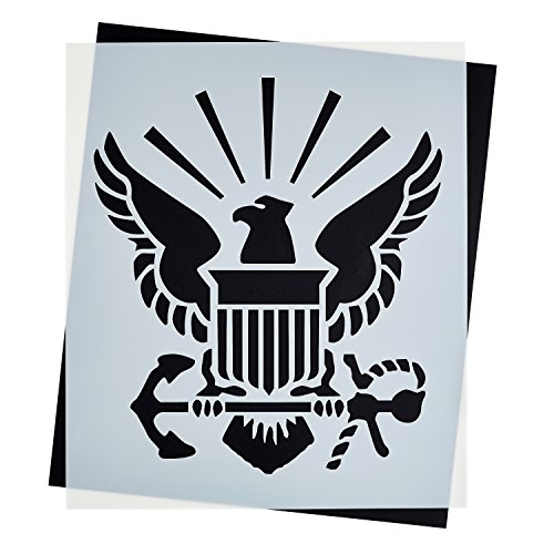 Large U.S NAVY STENCIL for Painting on Wood, Fabric, Walls, Airbrush + More | Reusable 12 x 14 inch Mylar Template (USN Military - Stencil Logo