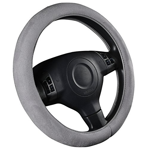 (CAR PASS Faux Suede Universal Car Steering Wheel Cover with Memory Foam, for Cars,suvs,Truck (Gray))