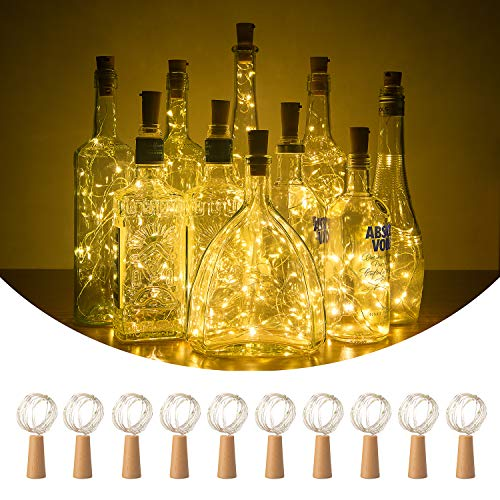 POMIE Cork Lights | 10 Pack of 20 LED Lights for Wine Bottle | Battery Operated Fairy Lights | LED String Lights | Warm White | Party | Wedding | Decor | DIY