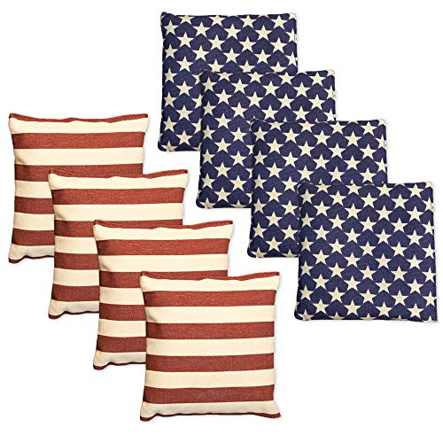 Weatherproof Duck Cloth Cornhole Bags - Set of 8 American Flag Bean Bags Corn Hole Game - Regulation Size & Weight - Made Corn-Shaped Synthetic Corn