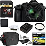Panasonic Lumix DMC-FZ1000 4K QFHD/HD 16X Long Zoom Digital Camera (Black) + Polaroid 32GB+ Battery + Polaroid 62mm UV Filter + Camera Bag + Cleaning Kit + Screen Protector + Wallet