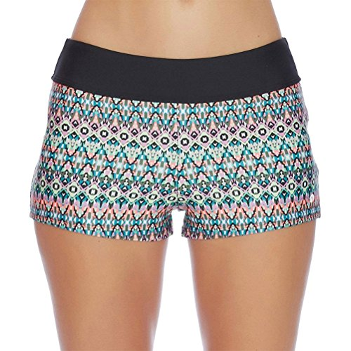Next Women's Jump-Start Swim Bikini Swimsuit Short, Mandala Multicolor, Large (Suits Next Womens)