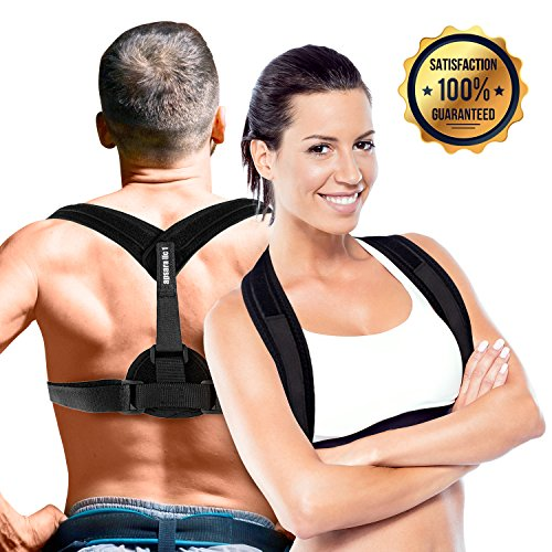 Back Brace - Posture Corrector for Men and Women | Best Support for Improved Upper Back, Shoulder, Chest & Clavicle Alignment | Pain Relief for Neck & Backache | Strap Under Or Over Clothes & Shirts by apsara llc