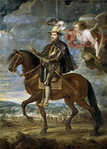 Satin Chrome 6' Center (Oil Painting 'Rubens Peter Paul Felipe II A Caballo Ca. 1630', 30 x 42 inch / 76 x 106 cm , on High Definition HD canvas prints is for Gifts And Garage, Kitchen And Nursery Decoration)