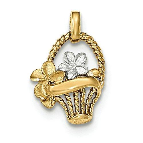 Satiné poli 14 carats et Rhodium avec pendentif Femme-Fleurs-JewelryWeb