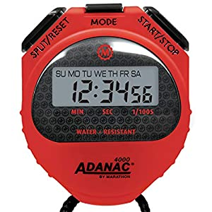 MARATHON Adanac 4000 Digital Stopwatch Timer with Extra Large Display and Buttons, Water Resistant, One Year Warranty (Red, 10)