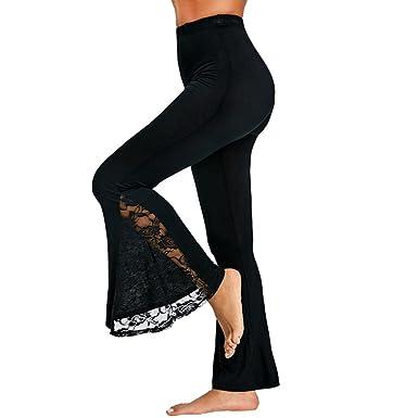 PAOLIAN Pantalones de Mujer Verano 2018 Pantalones de Vestir Encaje Palazzo Cintura Alta Pantalones Perspectiva Fluido Pantalones Acampanados señora ...