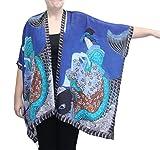 Cocoon-House Women's Koi Silk Hand Painted Long Kimono Jacket Oversized One Size Plus (Blue)