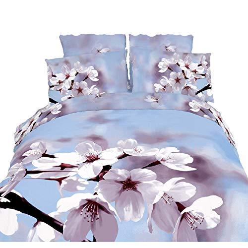 (MagicBedding Spring Flowers New Soft Comforter Linen King Size Duvet Cover Sheets Set, Fiori di Mandorla Hotel Motel Bedroom Twin Girls Woman Linen)