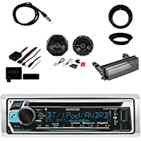 Kenwood Single DIN Bluetooth Marine Stereo Receiver with Metra Axxess Universal Steering Wheel Control Interface, Metra Radio Cover Kit, Enrock Marine Antenna Kicker Speakers Pair and Mounting Ring