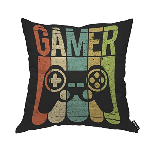 Aoyego Game Gamer Controller Throw Pillow Cover Play Video Games Grain Leisure Joystick Funny Button Toy Pillow Case 18x18 Inch Decorative Men Women Boy Girl Room Cushion Cover For Home Couch Bed