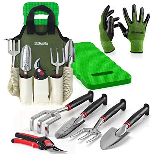Gardening Tool Set - Includes EZ-Cut Pruners, Lightweight Aluminum Tools with Soft Rubber Handles and Bamboo Gloves and Ergonomic Garden Tote and High Density Comfort Knee Pads ()