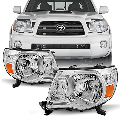 For 05-11 Toyota Tacoma Pickup Truck Headlights Front Lamp Direct Replacement Pair Left + - Headlight Replacement Tacoma Toyota