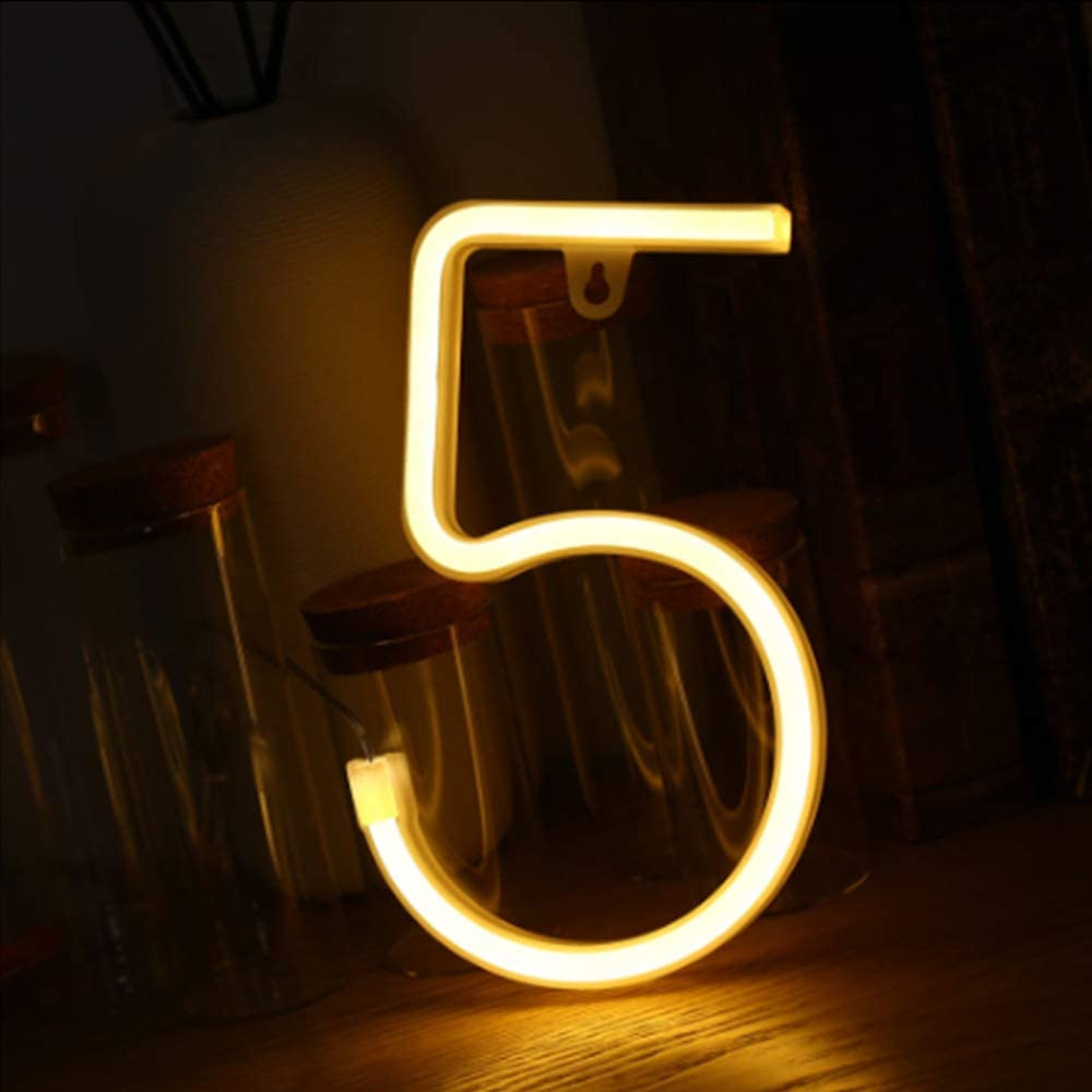 Warm White Number 5 Neon Night Lights Roman Numerals Shaped Led Night Signs Best Night Lamp for Home Bar Club Pub Hotel Decoration Birthday Wedding Christmas Party Bedroom Wall Hanging Decor (5)