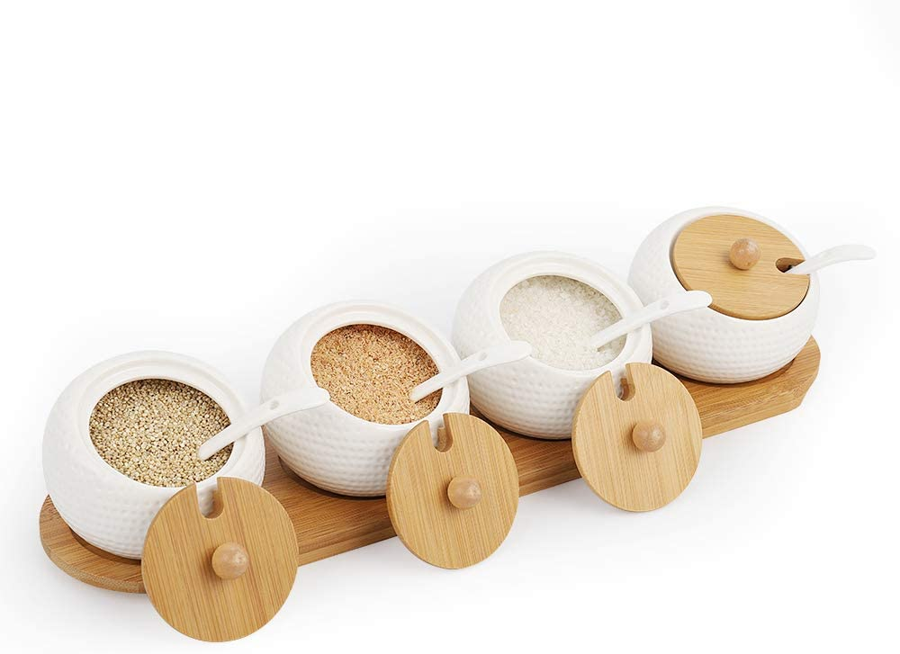 Ceramic Seasoning Jar Set of 4 Condiment Ceramic Spice Serving Jars Container Box Tank Pot Porcelain Sugar Bowl Sets with Spoon and Bamboo Lid Tray for Kitchen Home Cafe Office