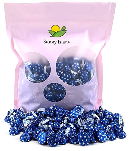 Sunny Island Bulk - Hershey's Kisses Blue Star Foil Wrap Milk Chocolate Candy, 2 Pounds - Star Blue Foil