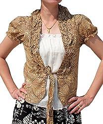 RaanPahMuang Inside Outside Shirt Pair Barbie Doll Girls Light Cotton Blouse, Medium, Raw Umber Brown
