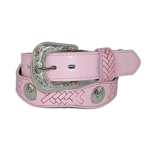 Girls Leather Western Belt with Conchos Pink Small