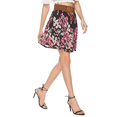 Falda de verano floral de gasa falda de hombro de cuero Pink