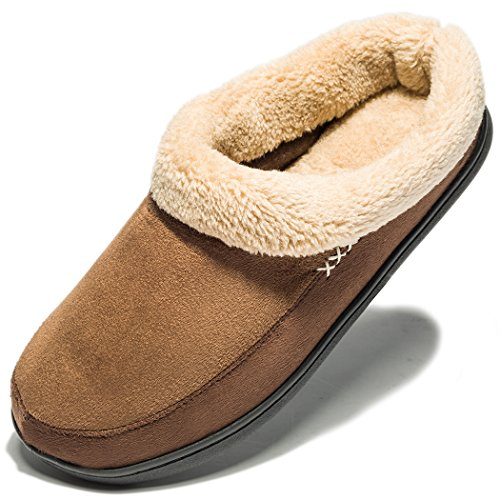 NDB Men's Warm Memory Foam Suede Plush Shearling Lined Slip On Indoor Outdoor Clog House Slippers (9-10 D(M) US, Dark Brown)