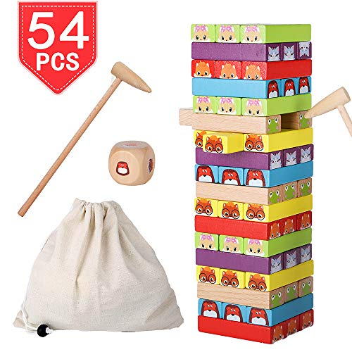 PROLOSO Wooden Blocks Stacking Board Games with Animal Faces Colored Tumbling & Toppling Tower Building Blocks with Storage Bag for Kids 54 Pcs ()