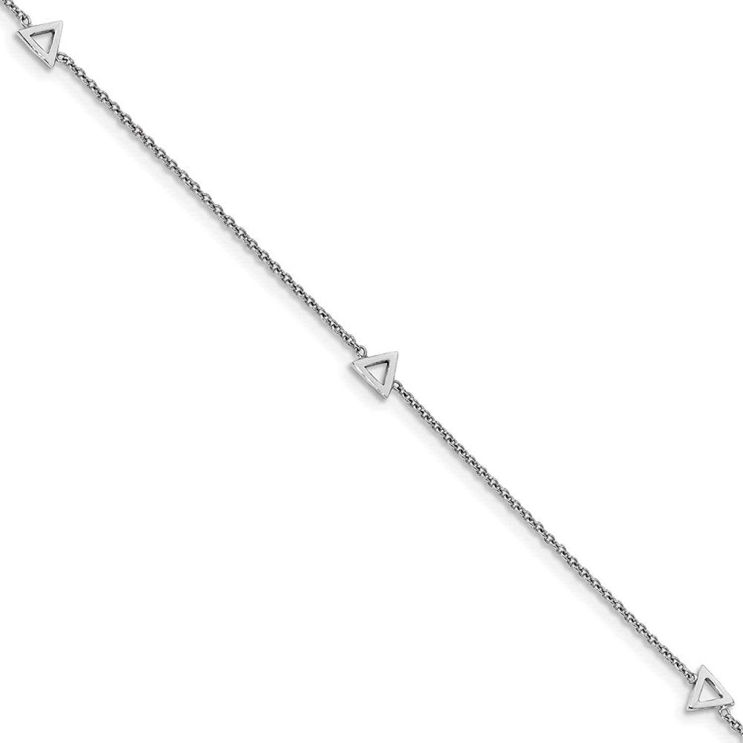 Sterling Silver Rhodium-plated Polished Triangle With 1inch Ext. Anklet - 9 Inch