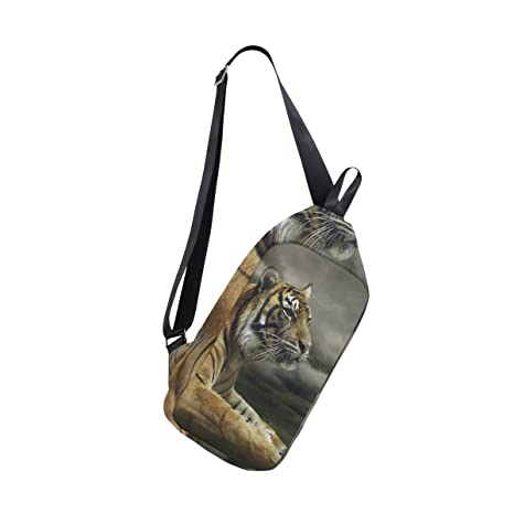 f2e2dd287892 Amazon.com | Sling Bag Tiger Dramatic Sky Mens Chest Shoulder ...