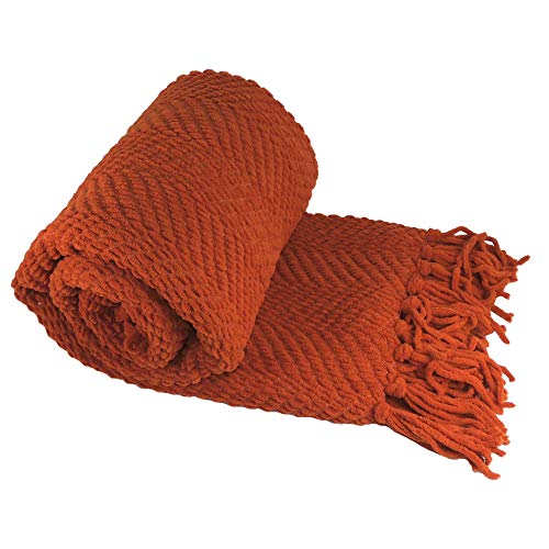 Home Soft Things Boon Knitted Tweed Throw Couch Cover Blanket, 50 x 60, Rust (Renewed)