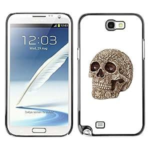 Be-Star Único Patrón Plástico Duro Fundas Cover Cubre Hard Case Cover Para SAMSUNG Galaxy Note 2 II / N7100 ( Death Brown Bone Skull Death Biker )