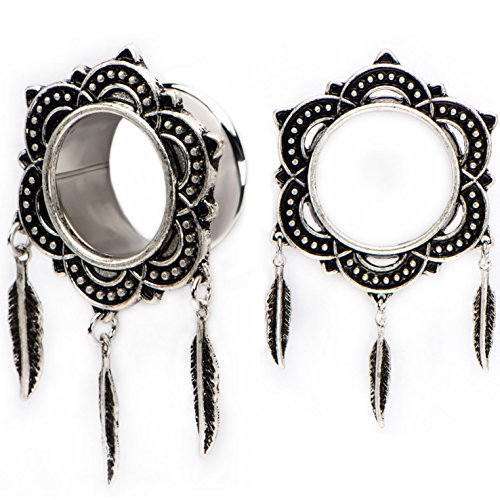 Pair of Tribal Floral Rim Triple Feather Dangle Ear Plugs Tunnels Made with Steel & Brass - 2G (6mm)