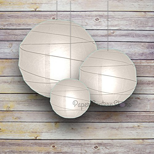 Quasimoon 8/12/16' White Round Paper Lanterns, Irregular Ribbing (3-Pack Cluster) by PaperLanternStore