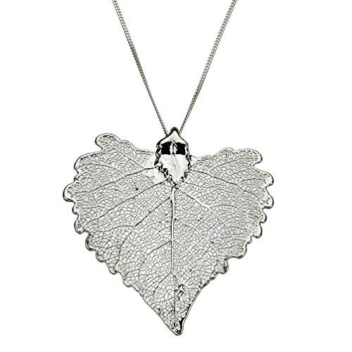 Silver-Plated Cottonwood Leaf Pendant Sterling Silver Curb Chain Necklace, - Necklace Cottonwood Leaf