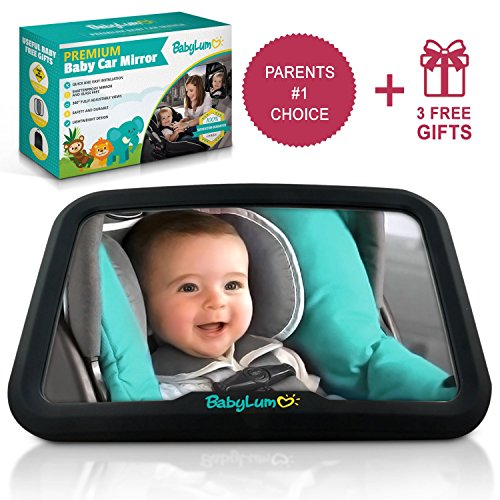 Baby Car Mirror For Smart Moms - Certified Safe, Extra Large Mirror, Shatterproof, Easy Installation, For Rear Seat Facing View, Include 1 Baby On Board Sign, Kick Mat, 2 Sun Shades from BabyLum