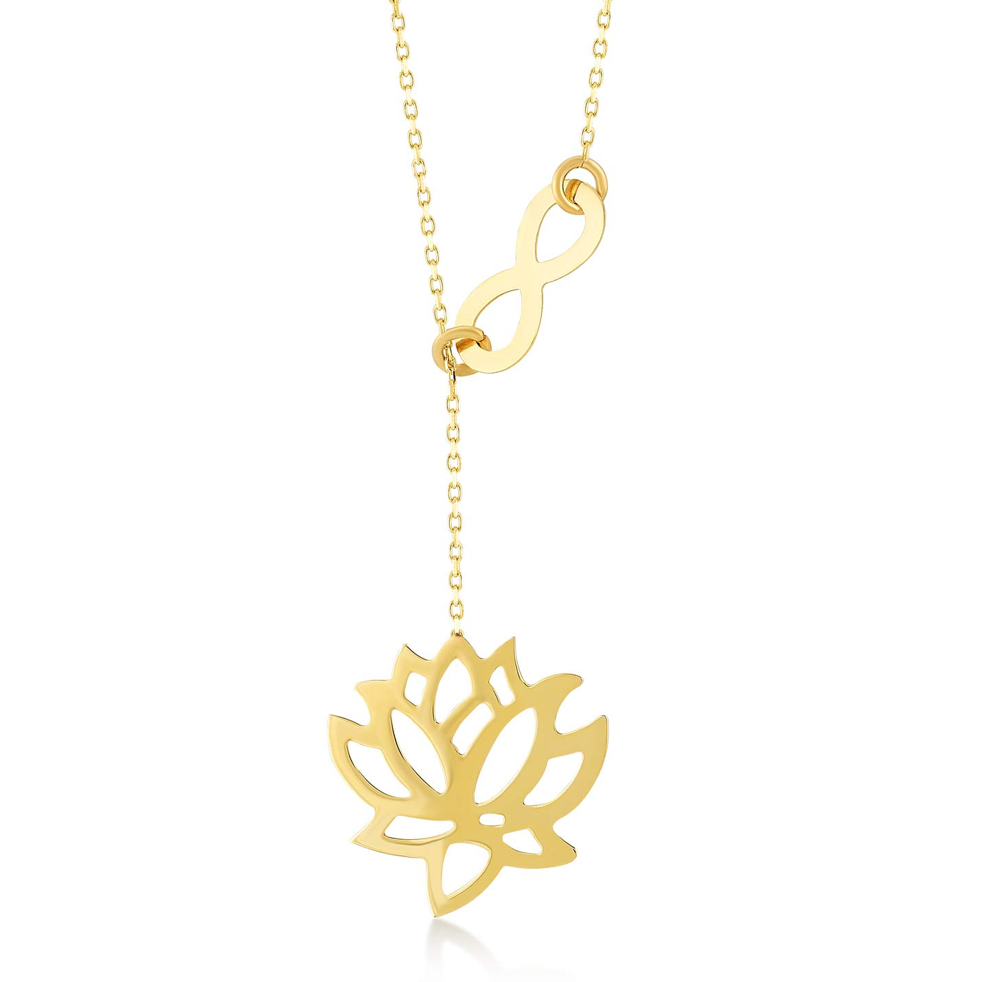 GELIN 14k Yellow Gold Lotus and Infinity Chain Y Necklace for Women, 18'' by Gelin