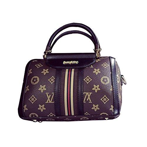 DAMAI&LV XL Women's Striped handbag Printed Shoulder Messenger Bag (Black Jersey Messenger Bag)
