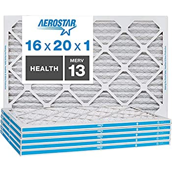 Aerostar Home Max 16x20x1 MERV 13 Pleated Air Filter, Made in the USA, 6-Pack