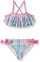 Angel Beach Little Girls Ethnic Print Flounce Bikini Swim Set, Multi, 5