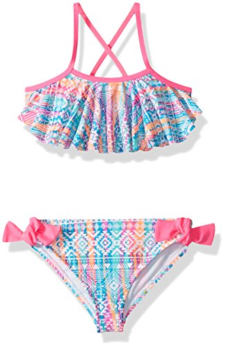 Angel Beach Little Girls Ethnic Print Flounce Bikini Swim Set, Multi, 4