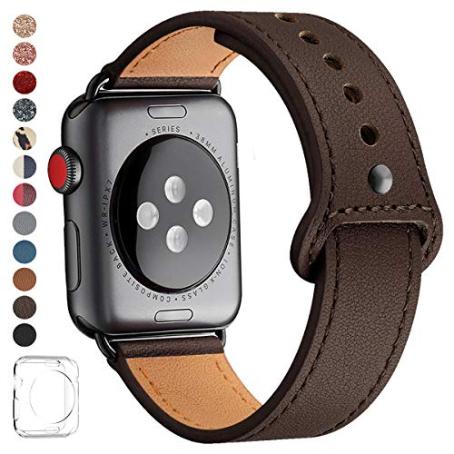LOVLEOP Bands Compatible with Iwatch Band 38mm 40mm 44mm 42mm, Top Grain Leather Smart Watch Strap for iWatch Series 4 Series 3 Series 2 Series 1 (Coffee+Black Connector, 42mm 44mm) -