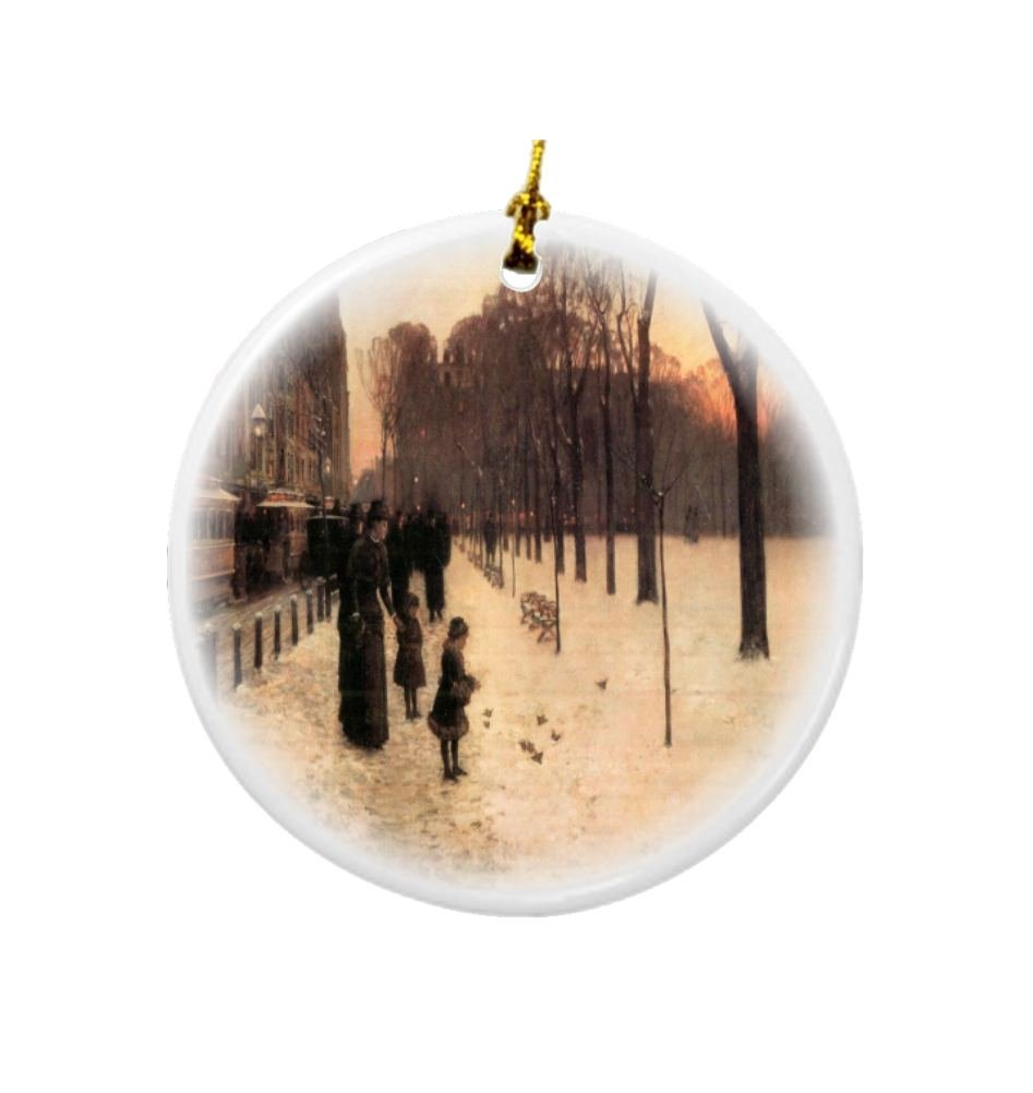 Rikki Knight Childe Hassam Art Boston in Everyday Twilight Design Round Porcelain Two-Sided Christmas Ornaments